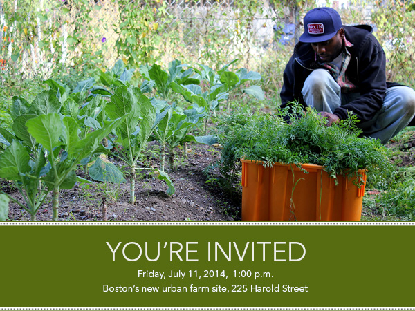Join us for the Boston urban farm groundbreaking